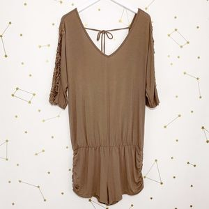 L Space • Brown Mali Crochet Open Back Romper M